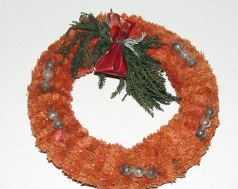 Vintage Red Chenille with Mercury Balls Wreath