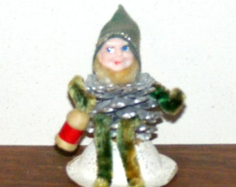 Vintage Pine cone Gnome or Pixie Elf with lantern Chenille and  Spun Cotton Trim Japan