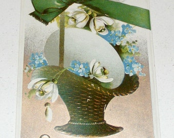 Antique Postcard Germany Easter Embossed Egg in Wicker Basket and Flowers