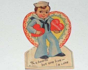 Vintage  Valentine Card Sailor Boy with Hearts USA