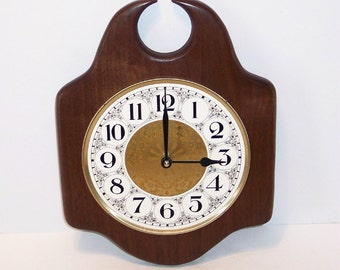 Wall Clock on a Solid Walnut Slab with Fancy Dial and Quartz Movement
