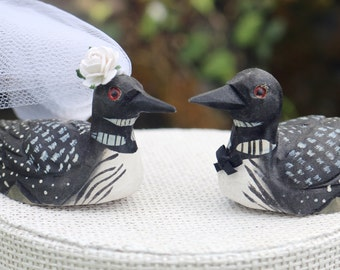 Minnesota Loon Wedding Cake Topper:  Handcarved Wooden Bride and Groom Love Bird Cake Topper