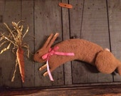 Primitive Rabbit Fester Doll and Carrot Honey Colored