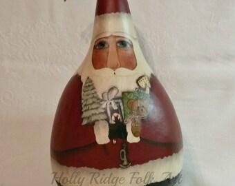 Santa Gourd, Primitive, hand painted, folk art, toys