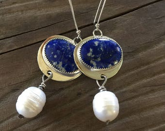 Lapis and Pearl silversmith earrings