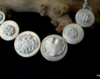 art jewelry necklace silver fine silver PMC natural impression OOAK Eco friendly artisan recycled silver