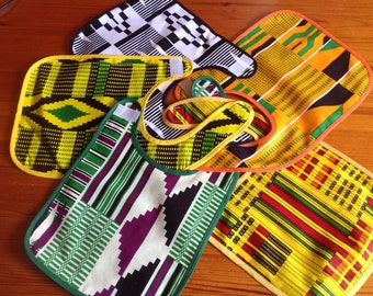 Kente African print Baby's bib with velcro fastening