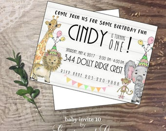 Baby invitation birthday happy 1st birthday hand drawn original animals giraffe monkey new baby shower invite baby girl