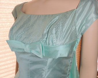 Pastel Aqua Party Dress with Attached Train Pristine