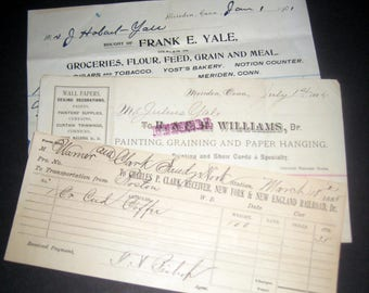 Antique (1800s) Ephemera - 3  Invoices Letterheads Handwriting - Groceries; Painting and Paper Hanging; Railroad Transportation