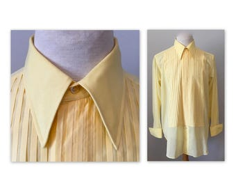 Vintage 60s Formal Shirt XL Yellow Semi Sheer Cotton Custom Made by Russell's Montreal with French Cuffs