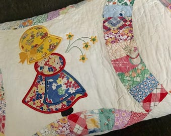 Quilted  SUN BONNET  SUE  Bench Pillow . . . Vintage  Quilt  . . .Applique Design . .  Country Bench Decor