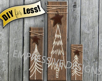 Rustic Christmas Sign Decoration Vinyl Decal S-M-L DIY Christmas Tree Vinyl Decal Primitive Farmhouse Country Cottage Christmas Holiday Sign