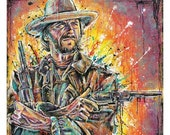 """ON SALE 12 x 12"""" -High Quality Art Print Poster Clint Eastwood The Outlaw Josey Wales western civil war outlaws cowboys wild west"""