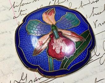 Vintage Cloisonne belt buckle iris blue