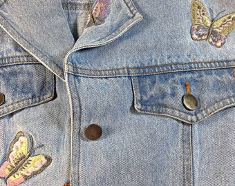 Vintage Retro Denim Together Jacket embroidered butterflies mid length
