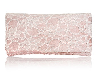 Blush pink and ivory lace Astrid bridal wedding clutch purse
