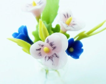 Pansy Miniature Polymer Clay Flowers Bouquet in Vase Glass