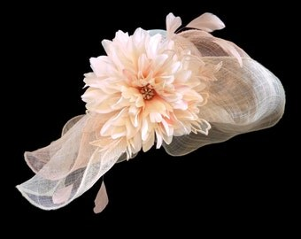 "Women's Kentucky Derby Hat, Downton Abby Style Spring Fashion Hat in Tonal Ivory and Soft Peach - ""Peaches 'n Cream Perfection"""