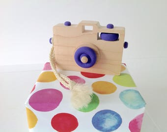 Wooden Toy Camera, Wood Camera, Toddler Toy, Handmade Toy, Baby Gift, Camera Prop, Purple