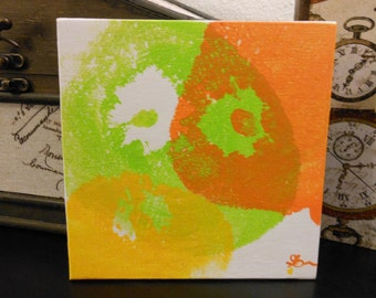 Pop Art Tile - Original Art, Acrylic Painting, breast painting, abstract art, canvas board