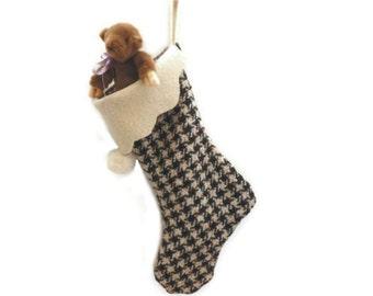 Christmas Stocking, Upcycled 100% Wool Stocking, Handmade Houndstooth Check Stocking, Menswear Christmas Stocking