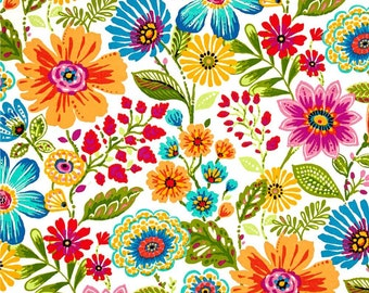 Bright Floral Shower Curtain, Tween, Multi Colored Shower Curtain, Summer  Bathroom Decor