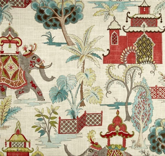 Red Teal Curtains Elephant Drapes Boho Home Decor Temple