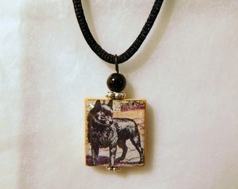 SCHIPPERKE Scrabble Jewelry - Necklace - Pendant / Beaded / Upcycled - Repurposed / with Satin Cord / Dog Lover Gift