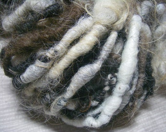 Handspun Shaggy Icelandic Wool Textured Art Yarn in Natural Colors and Super Bulky Weight by KnoxFarmFiber for Knit Weave Embellishment