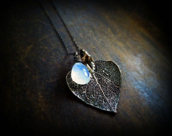 Moonstone necklace, Aspen leaf jewelry, blue fire, spectral, Oxidized sterling silver, healing crystal, otis b gemstone, wire wrapped,
