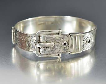 Sterling Silver Buckle Bracelet, Engraved Victorian Revival Cuff Bangle Bracelet, English Silver Bracelet, Eternity Band Love Token Gift