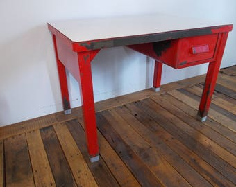 1940s INDUSTRIAL DESK by The General Fireproofing Company Ohio Metal One Deep Drawer Original Red Strong White Laminate Top Mid Century