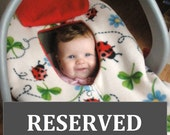 Reserved listing for Emily T.- infant car seat in cow print fleece