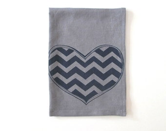 Linen Tea Towel - Chevron Heart design - Choose your fabric and ink color