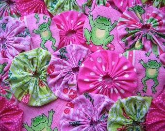 Fabric Flower Applique 40 Yo Yo FROGS Green Pink  2 Inch  Barrette Headband Hair Clip Trim