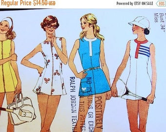 on SALE 25% OFF 1970s Tennis Dress Pattern Misses size 12 Bust 34 Womens Mini Tennis Dress with Panties Vintage Sewing Pattern 70s