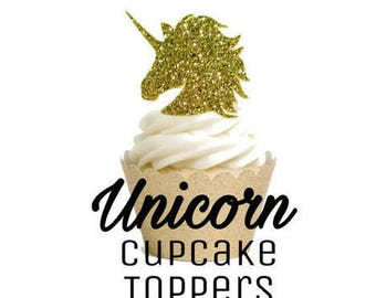 Unicorn Cupcake Toppers, Unicorn Party Decorations, Unicorn Birthday Party Set of 8 or 12, Double Sided