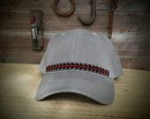 Native Beaded Baseball Cap, Hat,Sturgeon.Yurok,Hupa,Karuk,Tolowa, Wyiot