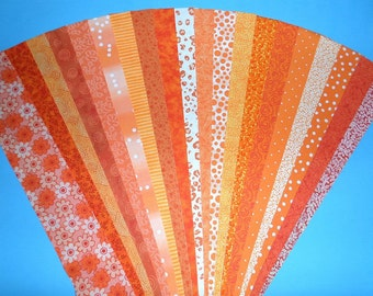 Fabric Orange Cotton Jelly Roll Quilting Strip Pack Material Die Cut 20 Strips No Dups (sku JR120-ORANbd)