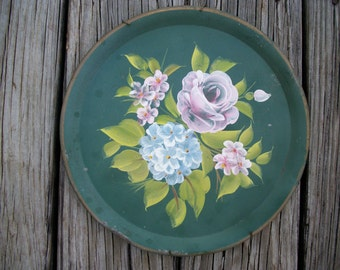 Shabby Green Metal Tole Tray Hand Painted Round, Old Vintage Toleware Tray, Decorative Wall Tray Home Decor Farmhouse