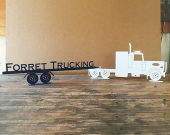 Peterbilt Semi Tractor and Trailer with Custom Text on Trailer  (B22)