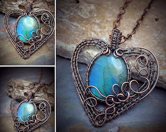 Luminescent labradorite gemstone heart pendant~ necklace~ready to ship FREE in the USA~gift~ Valentine