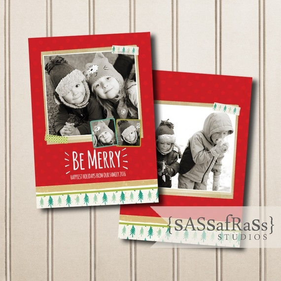 Christmas Card Template for Adobe Photoshop, Photographer Template ...