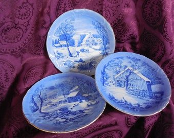 3 Vintage Currier & Ives Blue Winter Homestead Plates Gold Rim Scalloped Edge