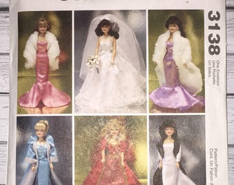 Mccalls Crafts 3138 Wedding Dress Strapless Gowns Fashion Doll Clothes 11.5 Inch Barbie Dolls Sewing Pattern UNCUT