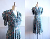1930s Ruched Blue Floral Silk Dress // Small