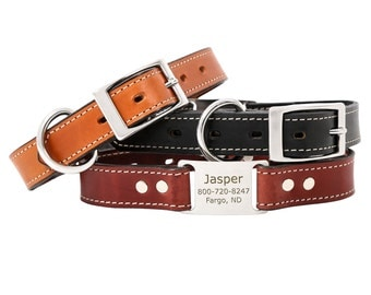 English Bridle Leather ScruffTag Personalized Dog Collar with Stainless Steel Hardware