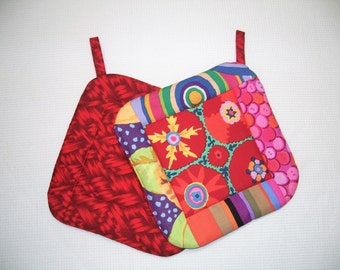 Kaffe Fassett Fabric, Red Potholders, Insulated Quilted Pot Holders, Modern, Set of 2 Hot Pads, Trivets, For the Cook, For the Kitchen