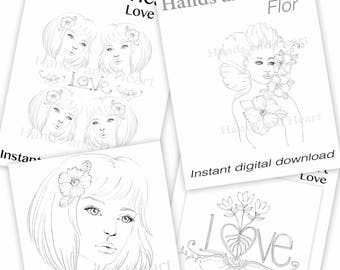 Love Kit  Digital Collages Instant Download Set Of Four